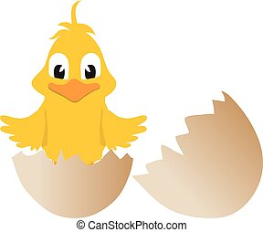 Easter chick and broken egg - Yellow Cartoon Style Easter...