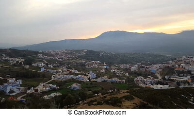 Chefchaouen the blue city in Morocco. - Panorama of...