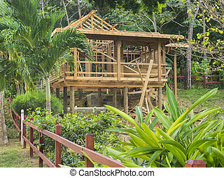 New house construction on an island in the tropics