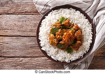 Indian food: Madras beef with basmati rice Horizontal top...