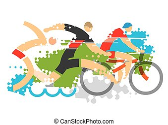 Triathlon competition - Three triathlon athletes on the...