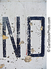 Improvised No or negative sign on wall - Photograph of...