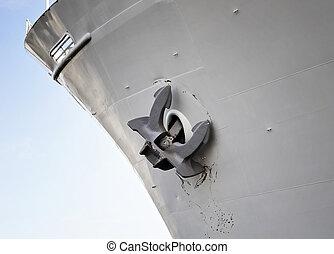 close, up, ship\'s, anchor