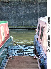 canal barge on canal river- Regents Canal, London - Regents...