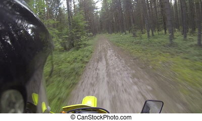 Riding motorcycle on the offroad. Action camera mounted on...
