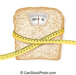 Weighing scales in form of a bread slice and measuring tape...