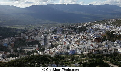 Chefchaouen the blue city in Morocco - Panorama of...