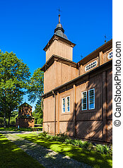 wooden Catholic church in Narew, Podlaskie Voivodeship,...