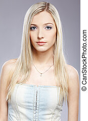 beautiful blonde girl - portrait of beautiful slavonic...