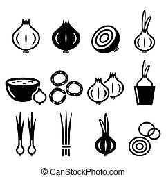 Onion, spring onions icons set - Food, nature vector icons -...