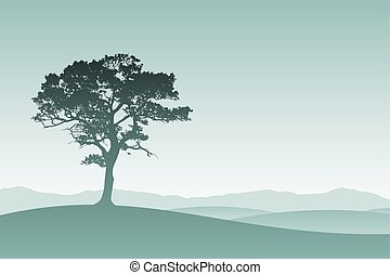 Lone Tree - A Lone Tree in Silhouette with Meadow Landscape