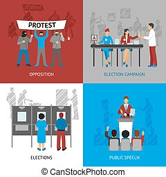 Politics Concept Icons Set - Politics concept icons set with...