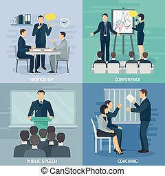 Public Speaking 4 Flat Icons Square - Public speaking skills...