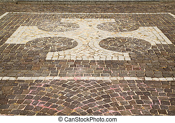vanzaghello street lombardy italy varese curch and marble -...