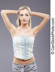 beautiful blonde girl - portrait of beautiful slavonic...