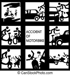 Set of insurance on a motorcycle accident. Vector style.
