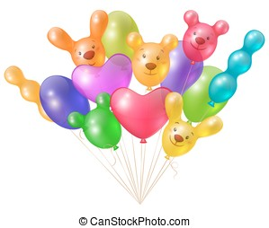 A festive bunch of bright balloons
