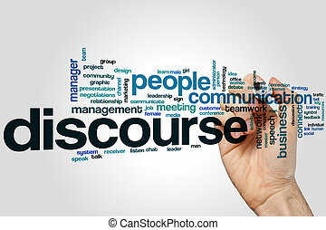 Discourse word cloud concept with communication talk related...