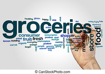 Groceries word cloud concept - Groceries word cloud