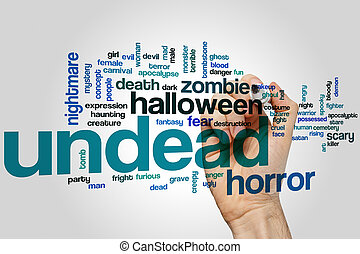 Undead word cloud concept with horror scary related tags