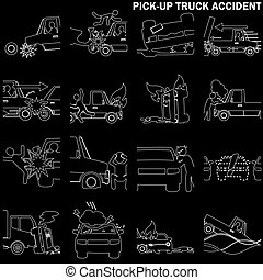 line drawing of pickup truck accident and insurance sign. In...