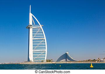 Burj Al Arab and Jumeirah Beach - DUBAI, UAE - NOVEMBER 14:...