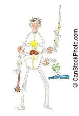 esqueleto, Desgastar, militar, capacete, Wi,