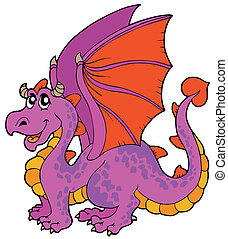 Cartoon dragon with big wings - vector illustration.