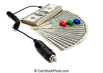 Recharging money concept - Charger plugged into money to...