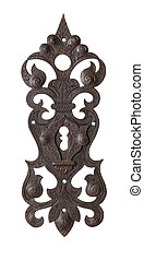 Antique door plate on a white background
