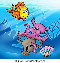 Cute octopus and orange fish - color illustration