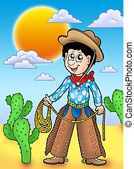Country boy with sunset - color illustration.