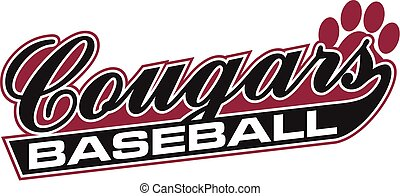 cougars baseball team design in script for school, college...