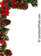 Poinsettia and christmas decoration border, corner border. -...