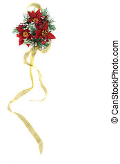 Poinsettia Christmas decoration with gold ribbon -...