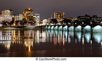 Harrisburg State Capital - The urban landscape of...