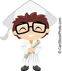 Boy Graduate - Illustration of a Boy wearing graduation suit...