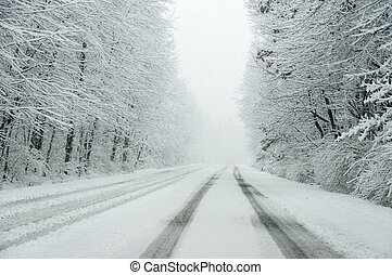 Snow Covered Road - A road covered with snow during a snow...