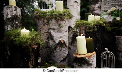 beautiful wedding decor with candles, birch logs