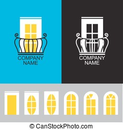 Balcony icon with a set of different windows - Vector -...