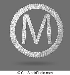 The letter M. Polygonal letter. Abstract Creative concept vector background. Vector Illustration eps 10 for your design.