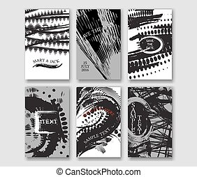 Set of the grunge card templates.