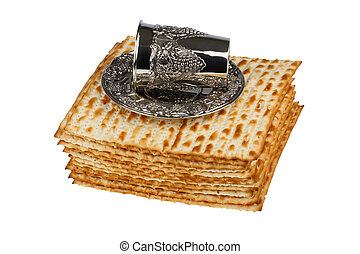 matzo and wine cup - passover matzo and wine cup isolated on...