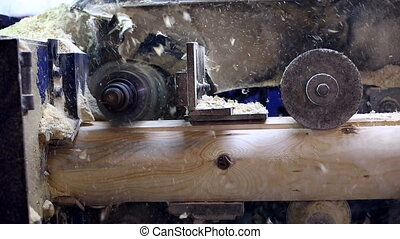 View on milling machine and sawdust fly away - View on...