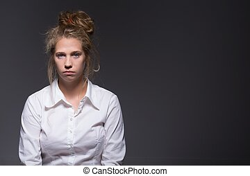 Guilty and frustrated - Young woman feels guilty and...