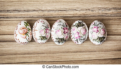 Colorful Easter eggs on the wooden background, Easter...