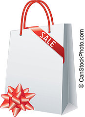 Sale - shopping bag and gift bow, vector