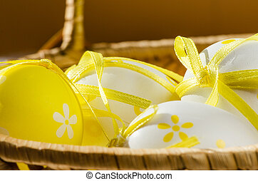 easter eggs in backet detail - yellow and white easter eggs...