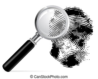 Magnifier with scaned fingerprint on white background Bitmap...