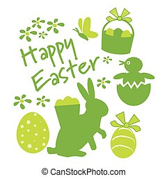 Happy easter greeting card - easter icons